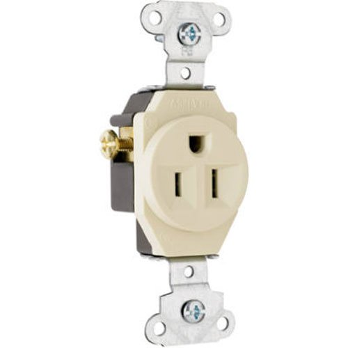 (Legrand-Pass & Seymour 5251ICC8 Spec Grade Single Receptacle 15-Amp 125-volt, Ivory)