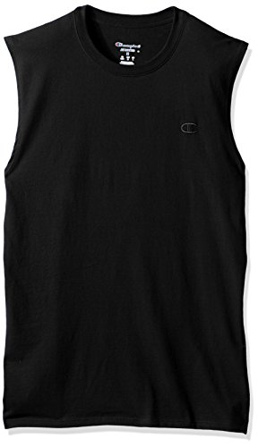 Champion Men's Classic Jersey Muscle T-Shirt, Black, L -