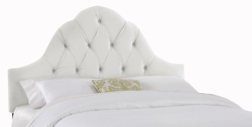 Skyline Furniture Velvet King Tufted High Arc Headboard, White