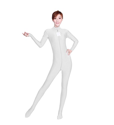 Circus Style Dance Costumes (WOLF UNITARD Long Sleeve Bodysuit for Adult and Child Small White)