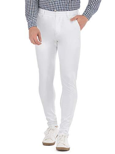 HONTOUTE White Pants for Men Lightweight Casual Chino Dress Pants Plain Slim Formal Trousers 38