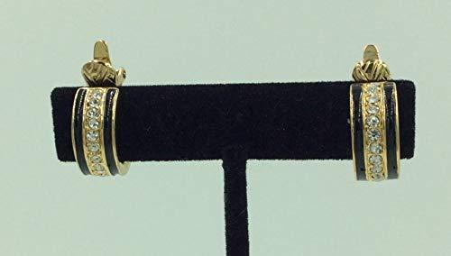 Vintage Trifari Black Enamel And Rhinestone Earrings