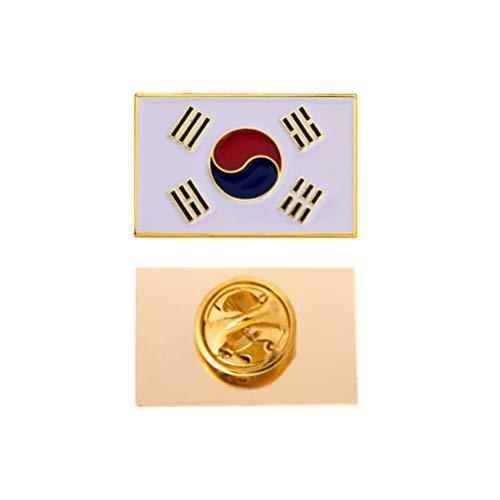 Korea Pin Flag Lapel - South Korea Country Rectangle Flag Lapel Pin Enamel Made of Metal Souvenir Hat Men Women Patriotic (Rectangle Pin)