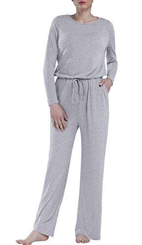 Pocket Jumper - Dreamskull Womens Loose Casual Pockets Jumper Scoop Wide Legs Long Sleeve Jumpsuits,Grey,Small