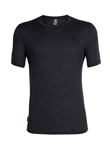 (Icebreaker Merino Men's Sphere Short Sleeve Crew Neck Shirt, Black Hthr, Medium)