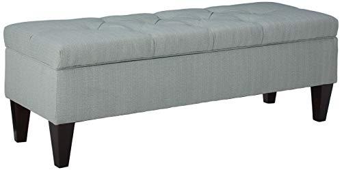 MJL Furniture Designs Brooke Collection Diamond Tufted Upholstered Long Bedroom Storage Bench, HJM100 Series, Sea Mist