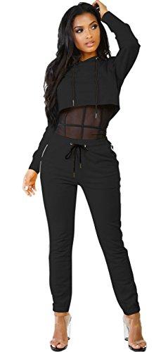 Women Long Sleeve Hoodie Sweatshirt Crop Top Bodycon Skinny Long Pants Sweatsuit Set Tracksuit Black, X-Large (Set Tracksuit)