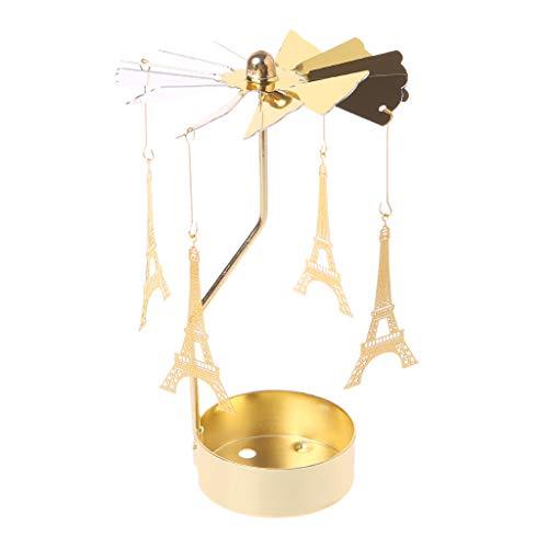 Oranmay Spinning Rotary Carousel Tea Light Candle Holder Stand Light Gift Wedding Decor (Eiffel - Tealight Tower Holder