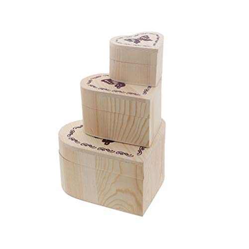 SandT Collection Set of 3 Wooden Heart Jewelry Box Nesting Boxes with Butterfly
