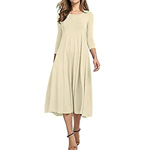 JINGJQINGCAO Chic Womens O-Neck 3/4 Sleeve Knee Length Pleated Swing Cotton Casual Dress BeigeLarge