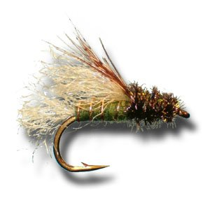 - Z-Wing Caddis Emerger - Olive Fly Fishing Fly - Size 16 - 3 Pack