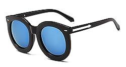 No.66 Town Women's Fashion Retro Round UV400 Protection Mirror Reflective Polarized Sunglasses Black Frame Blue Lens