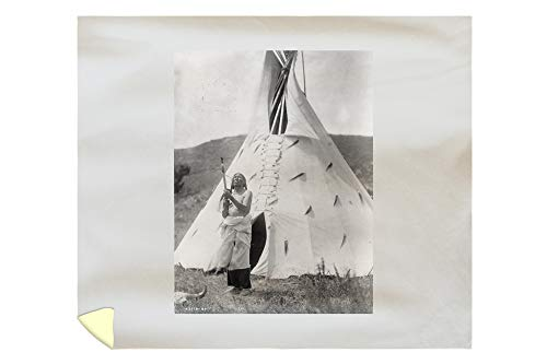 Lantern Press Slow Bull Dakota Sioux Indian Outside Tepee Curtis Photograph 2965 (88x104 King Microfiber Duvet - Pottery Sioux Indian