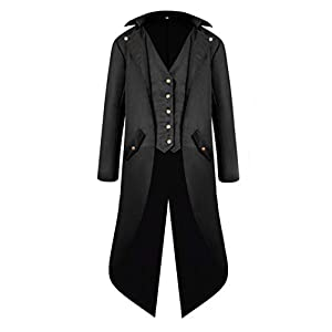 MasaRave Mens Steampunk Tailcoat Vintage Victorian Jacket