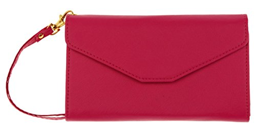 DEEZOMO Multi-purpose Passport Holder Wallet with Removable Wristlet - Rose