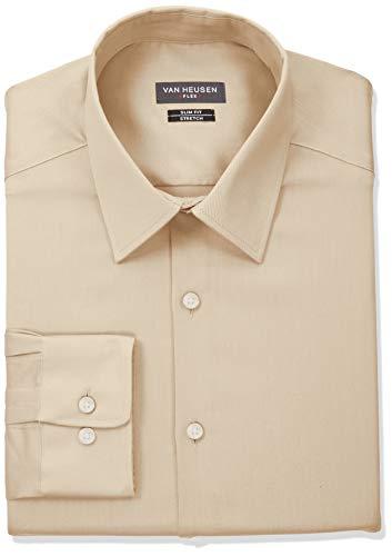 Tubing Cuff (Van Heusen Men's Dress Shirt Slim Fit Flex Collar Stretch Solid, Jute, 17