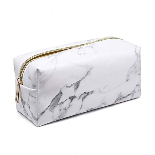 Mikey Store Marble Makeup Bag Organizer, Portable PU Cosmetic Pouch Travel Brush Holder Pencil Storage Case for Women (7.5
