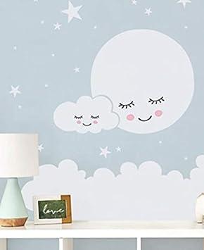 LXHLXN Lune Étoiles Sticker Mural Nuage Stickers Muraux Pépinière ...