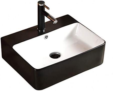 BoPin (タップなし)バスルームの洗面台、黒、白の矩形のセラミック上記カウンタ流域大型バニティ単一流域、52X42X15.5cm ベッセルシンクシンク (Size : 52X42X15.5cm)