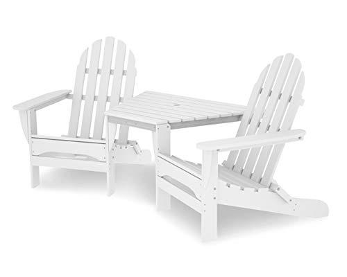 (POLYWOOD TT4040WH Adirondack Chair, White)