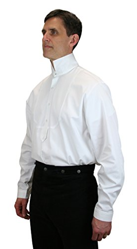 [Historical Emporium Men's Excelsior Victorian High Collar Dress Shirt 3X White] (Sweeney Todd Halloween)