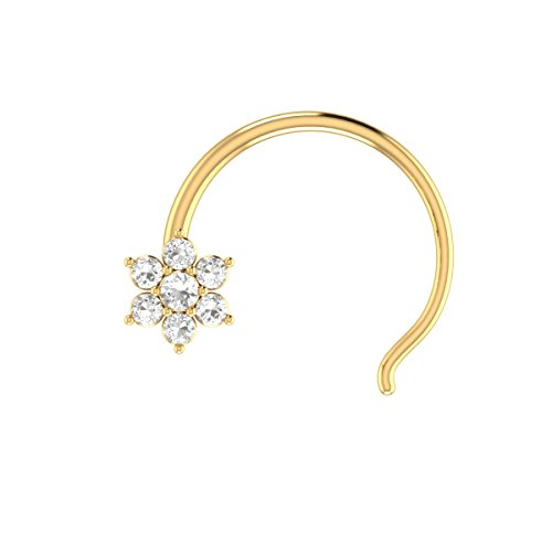 Demira Jewels 14k Yellow Gold Brilliant Cut Diamond Flower Wedding Nose Body Piercing Ring Stud Pin