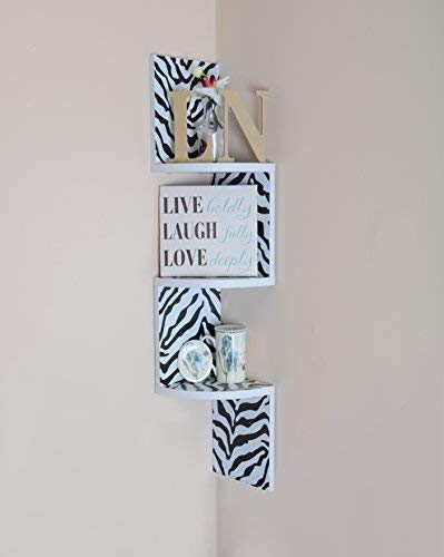 (Adorn home essentials| Corner Zig Zag Wall Mount Shelves| 3-Tier Zebra with White)