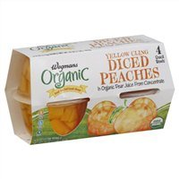 Wegmans Organic Peaches, Diced, Yellow Cling (4) 4oz. Servings, 16oz Per Pack (Pack of 4) - Serving Santa