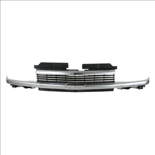 CarPartsDepot Front Grill Grille Assembly Chrome Bar Frame Black Insert Appearance Package, 400-15186-CG GM1200397 15015044 (99 Blazer Grill compare prices)