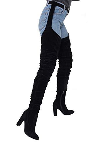 AZALEA WANG Black Faux Suede Ruched Chunky Heel Thigh High Sexy Rihanna Belted Suspender Boots-BLACK SUEDE_7.5