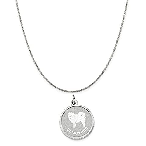 Sterling Silver Samoyed Disc Charm on a Sterling Silver Rope Chain Necklace, 16