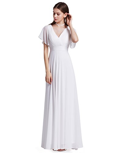 Ever-Pretty Womens Long V-Neck Cheap Wedding Dress 10 US White