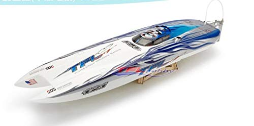 (DishyKooker 1122 Catamaran Racing Boat/Electric Brushless RC Boat Fiberglass with 3674 brushless Motor KV207, 125A ESC with BEC Blue)