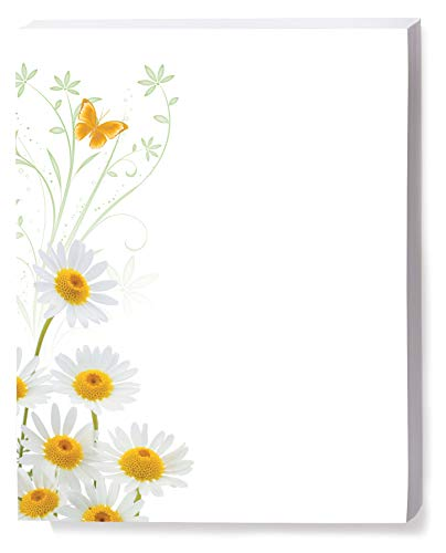 White Daisies Border Papers, 8.5 x 11 Inch, 28lb Stock, 100 Count