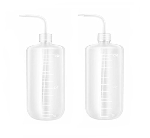 - 2PCS White Plastic Safety Squeeze Wash Bottles Bent Tip Oil Liquid Storage Holder Container Measuring Jars Wash Cleaning Soap Holder Can Pot Gardening Tools for Medical Label Supply(500ml/16oz)