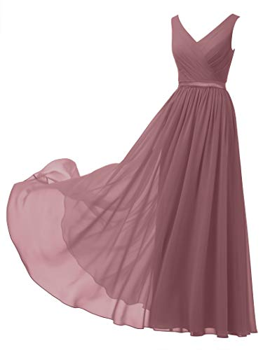 Alicepub V-Neck Chiffon Bridesmaid Dress Long Party Prom Evening Dress Sleeveless, Dusty Rose, US12