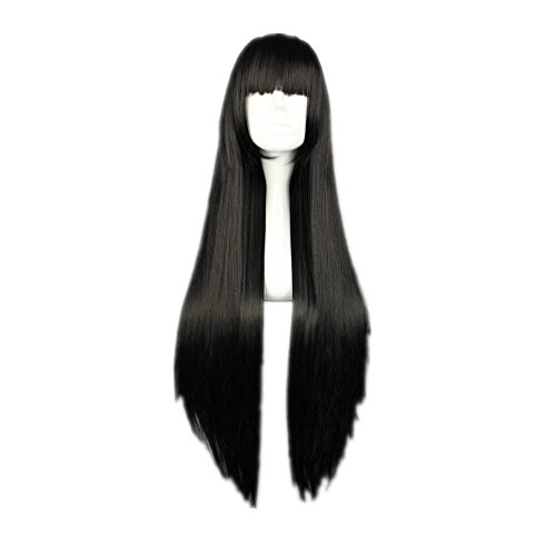 COSPLAZA Cosplay Wig Long Straight Flat Bang Synthetic Anime Black Blue Purple Hair