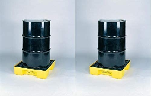 26.25 Width Eagle 1633 Yellow and Black Polyethylene Single Drum Modular Spill Platform with Grating 2000 lbs Load Capacity 26 Length 6.5 Height Pack of 2