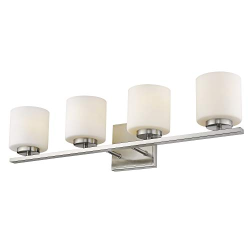 Emliviar 4-Light Bathroom Vanity Light Fixture, Brushed Nickel Finish with White Frosted Glass Shade, 21002-4B