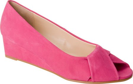 Ros Hommerson Women's Paige Peep-Toe Wedge Shoes,Pink,8.5 WW