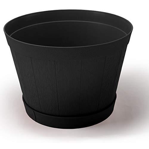 Set Of 2 Extra Large Black Plactic Whiskey Barrel