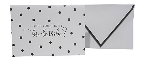 Gartner Studios Set of 8 Note Cards and Envelopes (Will You Join My Bride Tribe?) Grey and White Polka ()