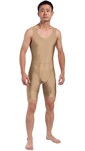 [JustinCostume Men's Spandex Step-in Leotard Biketard Costume XL Dark Nude] (Ballroom Costume For Men)