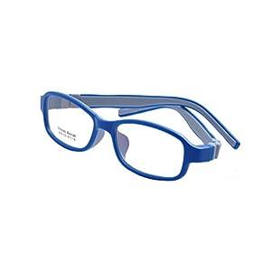 Deding Kids Optical Eyeglasses No Screw Bendable with Stringa and Case ,Children Tr90&silicone Safe Flexible Glasses Frame (Dark Blue)