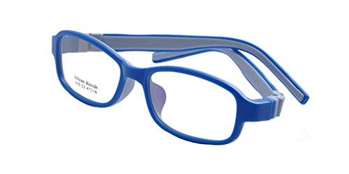 Deding Kids Optical Eyeglasses No Screw Bendable with Stringa and Case ,Children Tr90&silicone Safe Flexible Glasses Frame (Dark - Glass Frames Blue