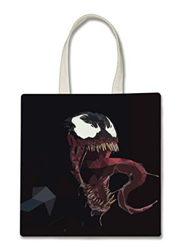 Black Polygon Comic Book Villain Halloween Trick Or Treat Polyester White Tote Bag 15x16x 3.5 -