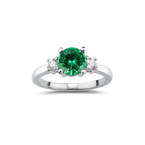 3 Genuine Stone Emerald Ring (0.20 Cts Diamond & 0.75 Cts Genuine Natural Emerald Three Stone Ring in Platinum-5.5)