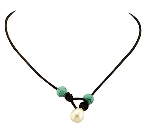 MAIMANI Handmade Rice-shaped Pearl Necklace and Genuine Leather Cord with Turquoise Beads for Women Brown 17' Leather Cord