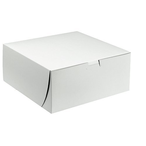 Premium Clay Coated Kraft Paperboard White Non-Window Lock Corner Bakery Box, 10