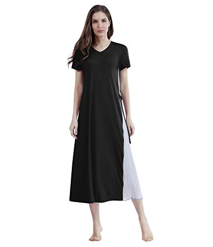 DEENRSEE Womens Maxi Dresses Beach Dress Long Dresses for Women Party Black Casual Dress Wedding Short Sleeve Summer